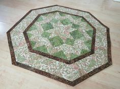Quilted Table Topper Reversible  Ferns & Batik 249 by QuiltinWaYnE, $46.00