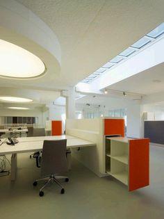 Open Plan Office with orange drawer! #openplanoffice