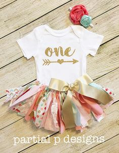 Coral Pink Turquoise and Gold First Birthday Outfit, smash cake, boho, baby girl, fabric tutu, sparkle, glitter, adorable