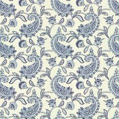 "PROUST PAISLEY BLUE/WHITEPROUST PAISLEY BLUE/WHITE END USE:	Drapery, Bedding, Pillows, Table Coverings WIDTH:	54"" REPEAT:	Vertical - 6.63"" FIBER CONTENT:	100% Cotton ORIGIN:	USA FINISH:	Soil and Stain Repellent	 BACKING:	N/A	 RAILROADED:	N"