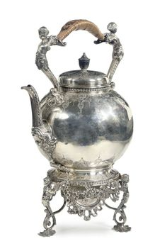 An English silver hot-waterkettle on stand with lamp -  MAKER'S MARK OF HENRY WILLIAM CURRY, LONDON, 1876-77