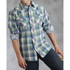 Roper Feather Dobby Plaid Shirt - Long Sleeve (For Men) in Blue