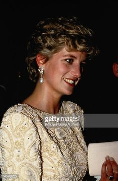 December 07, 1992: Princess Diana at the Royal Variety Performance at the Dominion Theatre in London. Wearing a Victor Edestein gown.