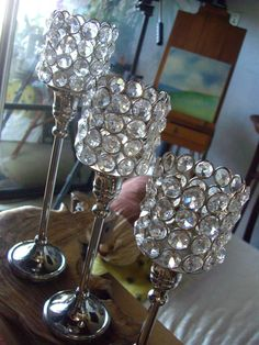 "Glass Crystal Candle Holders 9"" Pedestal $12 each / 2 for $11 each"