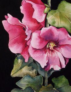 Pink Hollyhocks Original Watercolor Flower by MidwestGypsy on Etsy, $46.00