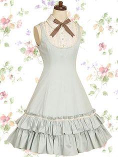Light Blue Sleeveless Satin Bow Cotton Sweet Lolita Dress