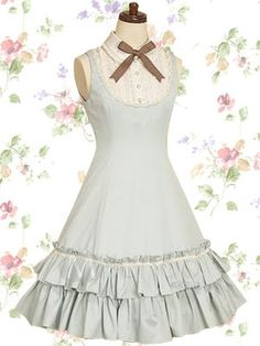 Light Blue Sleeveless Satin Bow Cotton Sweet Lolita Dress
