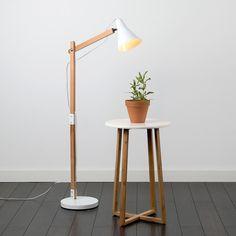 Clifford Wooden Floor Lamp In White Industrial Wooden Adjustable Angular Floor Lamp Rustic Floor Lamps, Diy Floor Lamp, Wooden Floor Lamps, White Floor Lamp, Arc Floor Lamps, Cool Floor Lamps, Diy Flooring, Wooden Flooring, White Wooden Floor