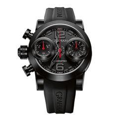Graham watches, Graham, Graham-London, Graham Swordfish Booster Black PVD Steel Black Red Dial Watch