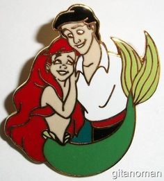 Disney The Little Mermaid Prince Eric Holding Carrying Princess Ariel Pin - RARE