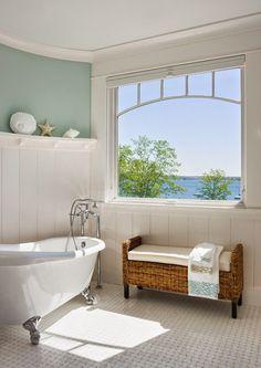 de farver ville passe rigtig godt til det nye badeværelse, træpaneler på væggene og blå/grøn vægge, hvidt loft, hasleklinker på gulvet sådan må det blive