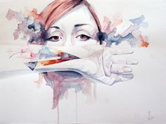 Portrait Agnes Cecile Media: Watercolor on paper Size: A3 (30 x 40 cm) by Miro Zgabaj https://www.facebook.com/pages/Miroslav-Zgabaj-Drawing-Painting/114161501988357?ref=aymt_homepage_panel