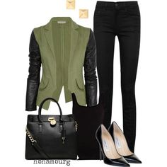 Khaki jacket with leather sleeves, black skinny jeans, black shirt, black bag & shoes.