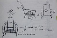 "boceto de Butacón ""retro falla"" de moix- años 50 con estructura de madera, restaurado y retapizado con tela de valenciana, incorpora dos revisteros metálicos. 350 €."
