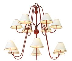 JEAN ROYERE (1902-1981)  A PAINTED WROUGHT-IRON TWELVE-LIGHT CHANDELIER, 1950S  Auctioned at Christies for $62,500