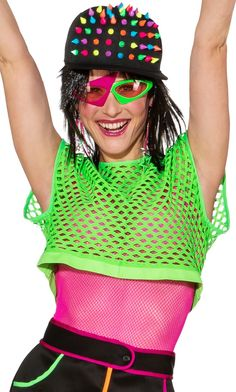 Perfect outfit for neon themed birthday parties, Butlins Reloaded events,hen dos and festivals. Butlins, Neon Green, Fishnet, Birthday Party Themes, Fancy Dress, Festivals, 1980s, Summer Outfits, Electric