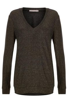About me : Long sleeved v neck jumper. Navy with gold thread through out. Size: True. Care: Hand wash in cool water.