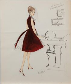Edith Head trio of costume sketches of Joanne Woodward for A New Kind of Love