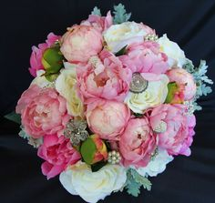 Silk Vintage Brides Wedding Bouquet made up of Pink and White Peonies, Vintage Brooches and Lambs Ear. Designed by Elegant Creations, in Nova Scotia Wedding 2015, Wedding Bride, Lambs Ear, White Peonies, Bride Bouquets, Nova Scotia, Vintage Brooches, Brides, Floral Wreath