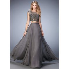 Gigi 22929 Gunmetal Lace Crop Top 2PC Evening Gown (1.630 BRL) ❤ liked on Polyvore featuring dresses, gowns, two piece dresses, lace prom gowns, lace dress, sheer gown and see through prom dress