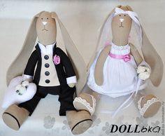 Купить Свадебные зайцы (текстильные игрушки ручной работы) - свадьба, свадебные зайцы, зайка тильда