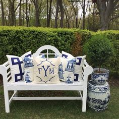 #blueandwhite #blueandwhiteforever #studiotullia #pillows#monogrammedpillows#gardenstool#mrytletopoaries#fishbowl#enchantedhome #enchantedhomeshop. In between buckets of rain and 50° days I managed to take a quick picture of my newest blue and white pillows outside… Needless to say it was an instant love affair! Is there such a thing as too much blue and white? I think not! Even my huge myrtle topiary is happier surrounded by it! Fishbowl and large garden stool from my online shop…