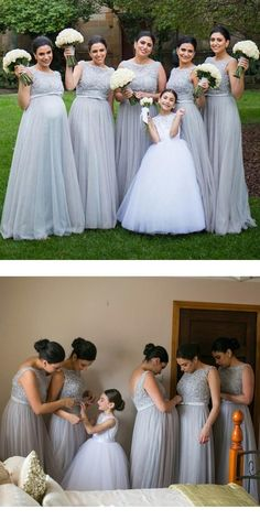 Silver Tulle Elegant Long Cheap Wedding Party Bridesmaid Dresses for Pregnant Girls, WG192 #charmingdressy#bridesmiad#