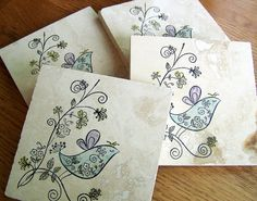 coasters natural stone whimsical birds set of 4 by serenitylane