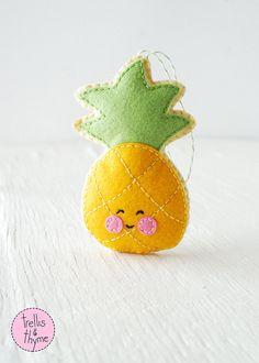 PDF Pattern - Little Pineapple Felt Sewing Pattern, Winter Holiday Felt Ornament Pattern, Christmas Ornament, Food Softie Pattern