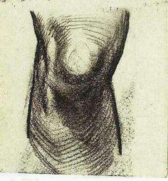 Sketch of a Knee by Vincent van Gogh Medium: chalk on paper