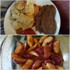 Grilled steaks marinated in Dale's sauce with oven fried potatoes and baked apples