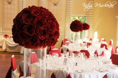 Freedom rose spheres - approx. 50 fully open roses per centerpiece. #red #centerpiece #rose