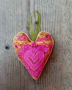 Handmade Heart Ornament Vintage Floral by GreenLeavesBoutique