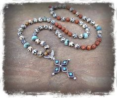 Native American CROSS necklace Sterling silver Turquoise by GPyoga, $139.00