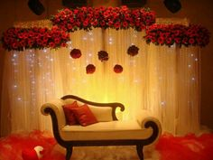 Flower Decoration for Wedding Stage Unique Floral and Curtain Lights Backdrop asianwedding Decoration Wedding Hall Decorations, Marriage Decoration, Engagement Decorations, Flower Decorations, Wedding Mandap, Wedding Stage Backdrop, Ceremony Backdrop, Wedding Reception, Wedding Prep