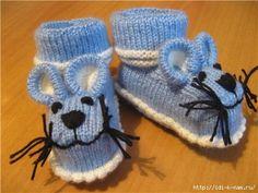 вязаные пинетки - мышки