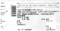 Concert Ticket Stub: Carole King & James Taylor at Nippon Budokan on 4/16/2010