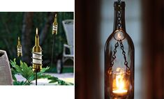Homemade Pendant Lights   Left: AfterGlow Garden Stake from Solutions, Right: First Step Designs