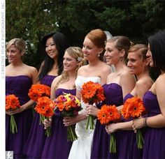 Dark purple bridesmaid dresses and orange gerbera daisy.NEVER would I think this looks good together. Wedding Themes, Wedding Colors, Wedding Styles, Wedding Flowers, Wedding Bouquets, Wedding Dress, Butterfly Wedding, Wedding Decorations, Orange Purple Wedding