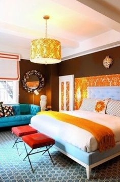 68 Awesome Ideas Orange Accents In Bedrooms : 68 Awesome Ideas Orange Accents In Bedrooms With White Brown Wall And Red Chairs And Yellow Ch...