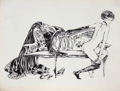 CREPAX GUIDO (1933 - 2003) Nudo di donna sul divano.