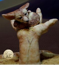 My Fenec (fox) for The Animals Rights Collaboration - Cake by Teru Edible Art, Animal Rights, Gum Paste, Clay Creations, Airbrush, Reptiles, Collaboration, Sculpting, Stuffed Mushrooms