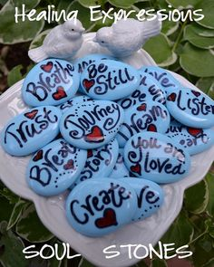 SOUL STONES heart blue word rock altered art collage therapy inspirational word recovery survivor