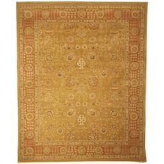 Safavieh Couture Hand-Knotted Haj Jalili Traditional Gold / Rust Wool Rug (9' x 12')