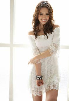 Off Shoulder White Lace Dress