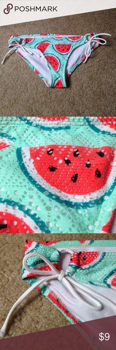 Watermelon Bikini Bottoms Super cute watermelon print bikini bottoms, NEVER WORN, OP, size M (7-9), tie strings on the side, great for summer! OP Swim Bikinis