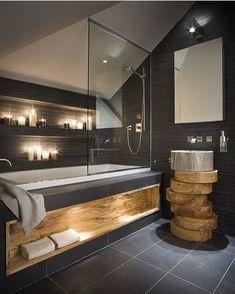 Passando só pra desejar uma boa tarde com esse banheiro simplesinho  autoria de Alessandro Isola Ltd   @decoreinteriores