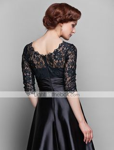 A-line Jewel Floor-length Stretch Satin And Lace Mother of the Bride Dress (682760) - USD $ 79.99