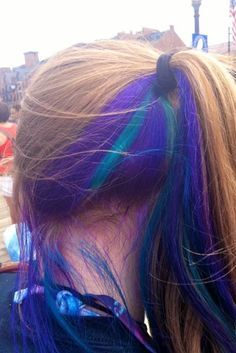 Peek-a-boo color. i want to do my hair like this but brown on top and blonde where the blue and purple are