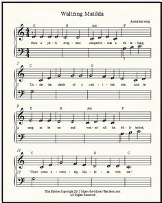 "Free popular sheet music ""Waltzing Matilda"" for beginner piano students, with lettered notes."